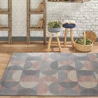 Rugsmith Grey Crescent Moon Mid-Century Modern Geometric Area Rug, 5' x 7' - 5' x 7'