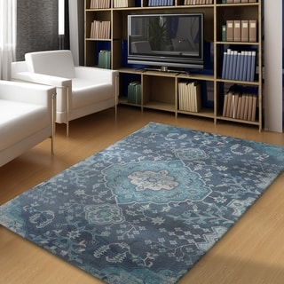 "Rugsmith Blue Haze Over-Dyed Traditional Area Rug - 7'6"" x 9'6"""