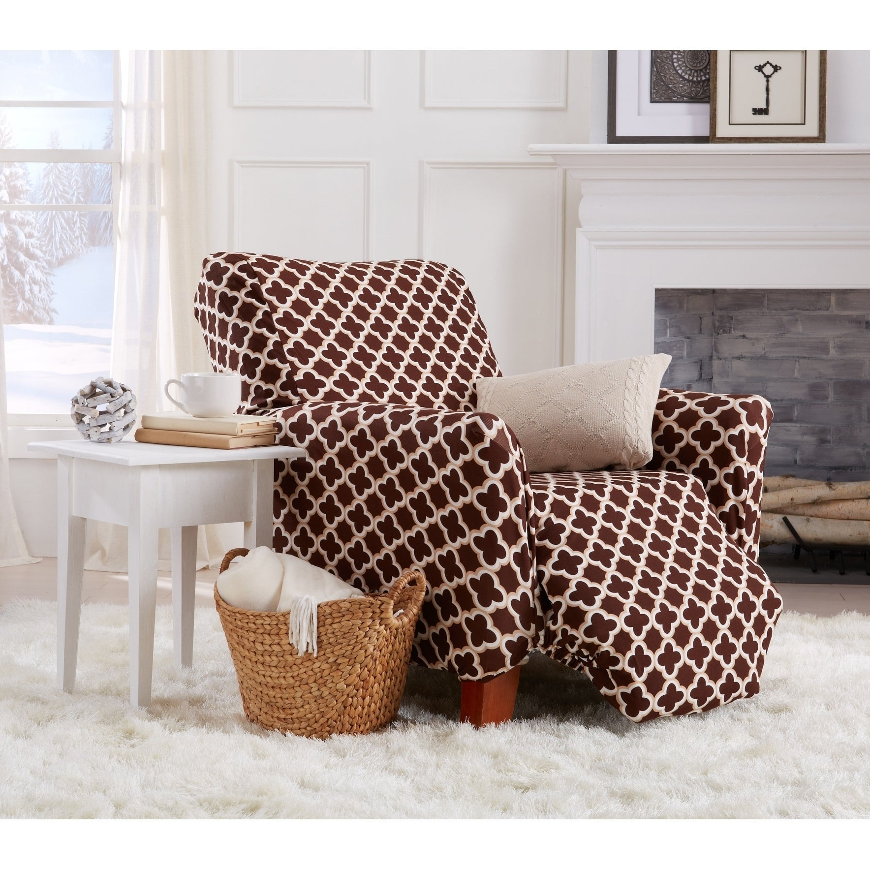 One Piece Stretch Recliner Cover Strapless Recliner Cover For Living Room Home Fashion Designs Printed Twill Recliner Slipcover Recliner Burgundy Brenna Collection Slipcover