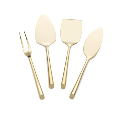 Towle Living Satin Gold Wave 4 Pc Cheese Set