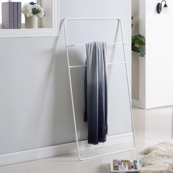 Marvul White Leaning Ladder Towel/Blanket Rack
