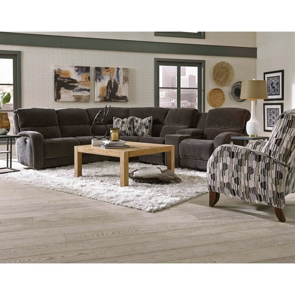 Southern Motion Fandango Grey Upholstered Reclining Sectional Sofa With Headrest