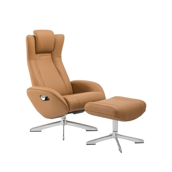 Ju0026amp;M Maya Camel Leather Chair And Ottoman
