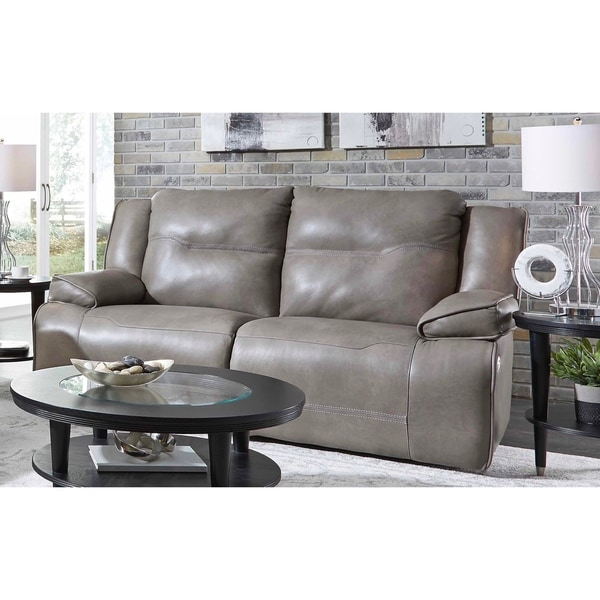 Groovy Southern Motion Major League Taupe Leather Double Reclining Sofa With Power Headrest Download Free Architecture Designs Xoliawazosbritishbridgeorg