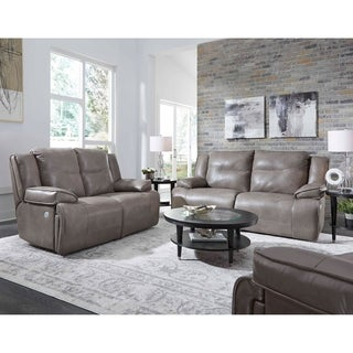Southern Motion's Major League Leather Sofa and Loveseat with Power Headrests