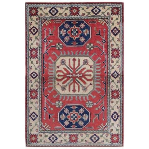 Handmade One-of-a-Kind Kazak Vegetable Dye Wool Rug (Afghanistan) - 3'3 x 4'10