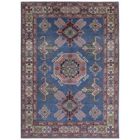 Handmade One-of-a-Kind Kazak Vegetable Dye Wool Rug (Afghanistan) - 4'10 x 7'