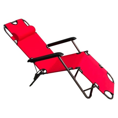 ALEKO Foldable Zero Gravity Camping and Lounge Chair Red