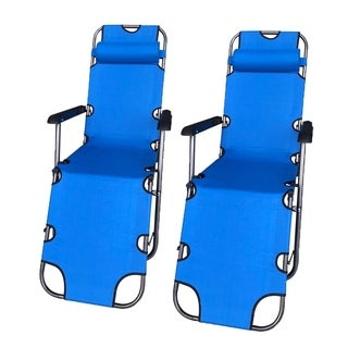 ALEKO Foldable Zero Gravity Camping and Lounge Chair Blue Lot of 2