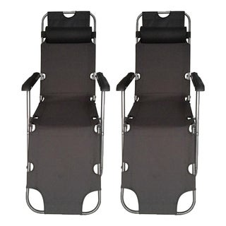 ALEKO Foldable Zero Gravity Camping and Lounge Chair Black Lot of 2