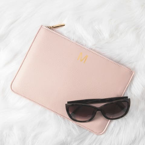 Personalized Blush Pink Embossed Vegan Leather Clutch