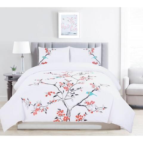 Miranda Haus Cherry Garden Embroidered 100-Percent Cotton 3-Piece Duvet Set