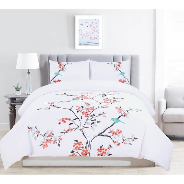 Miranda Haus Cherry Garden Embroidered 100-Percent Cotton 3-Piece Duvet Set. Opens flyout.