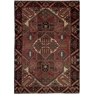 ECARPETGALLERY  Hand-knotted Hamadan Dark Copper Wool Rug - 4'10 x 6'11