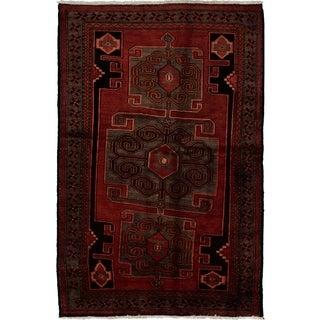 ECARPETGALLERY  Hand-knotted Hamadan Red Wool Rug - 4'9 x 7'1