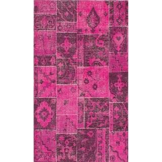 ECARPETGALLERY Hand-knotted Herbal Vintage Salmon Wool Rug - 4'6 x 7'9