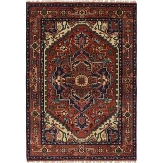 ECARPETGALLERY Hand-knotted Serapi Heritage Dark Copper Wool Rug - 4'2 x 6'0