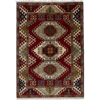 ECARPETGALLERY  Hand-knotted Royal Kazak Red Wool Rug - 4'1 x 5'9