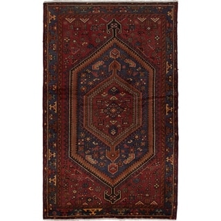 ECARPETGALLERY  Hand-knotted Hamadan Red Wool Rug - 4'6 x 7'3