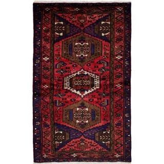 ECARPETGALLERY  Hand-knotted Hamadan Red Wool Rug - 3'4 x 5'7