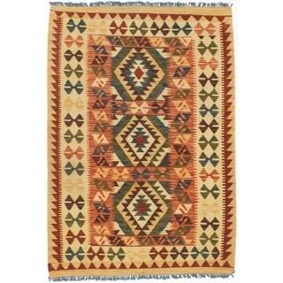 ECARPETGALLERY  Flat-weave Kashkoli FW Light Gold, Navy Blue Wool Kilim - 3'6 x 5'0