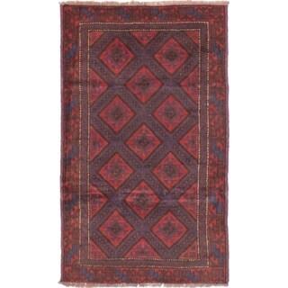 ECARPETGALLERY  Hand-knotted Finest Rizbaft Dark Red Wool Rug - 2'10 x 4'10