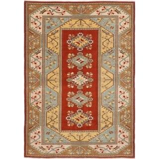 ECARPETGALLERY  Hand-knotted Ushak Dark Copper Wool Rug - 6'7 x 9'5