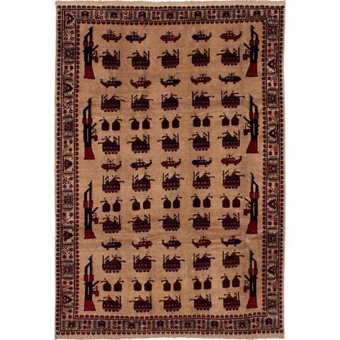 ECARPETGALLERY Hand-knotted Rare War Tan Wool Rug - 6'6 x 9'6