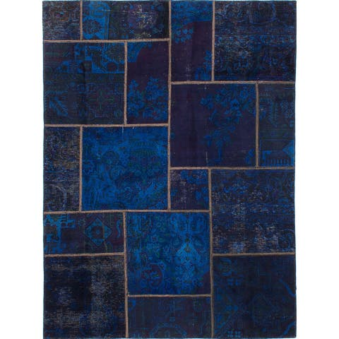 ECARPETGALLERY Hand-knotted Vogue Patch Blue, Dark Navy Wool Rug