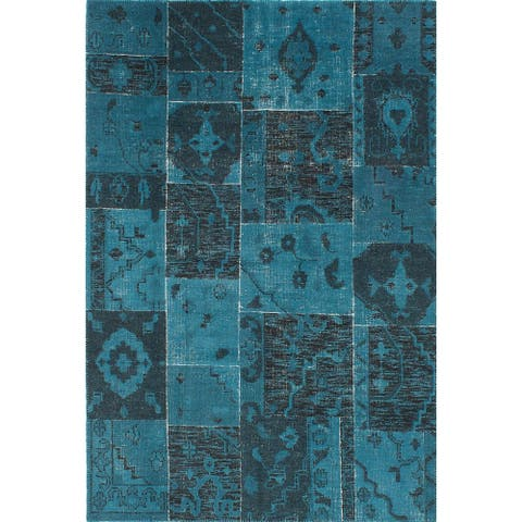 ECARPETGALLERY Hand-knotted Herbal Vintage Turquoise Wool Rug