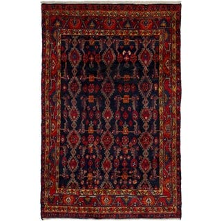 ECARPETGALLERY Hand-knotted Nahavand Navy Blue, Red Wool Rug - 4'3 x 6'7