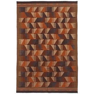 ECARPETGALLERY Flat-weave Ankara FW Dark Red Wool Kilim - 5'0 x 7'10