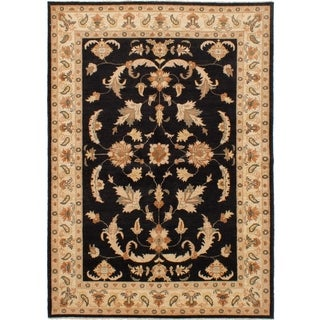 ECARPETGALLERY  Hand-knotted Chobi Finest Black Wool Rug - 5'9 x 8'1