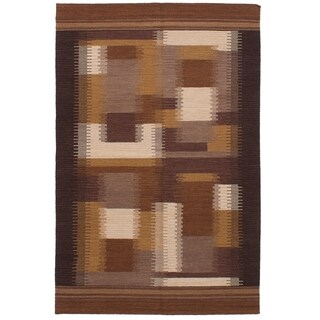 ECARPETGALLERY  Flat-weave Ankara FW Brown Wool Kilim - 5'2 x 8'0