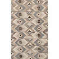 ECARPETGALLERY  Flat-weave Izmir FW Brown, Cream Wool Kilim - 5'2 x 8'3