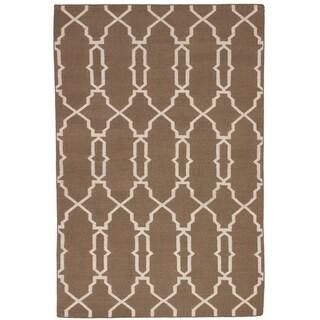 ECARPETGALLERY  Flat-weave Ankara FW Brown Wool Kilim - 4'11 x 7'10