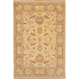 ECARPETGALLERY  Hand-knotted Chobi Finest Ivory Wool Rug - 6'0 x 8'10