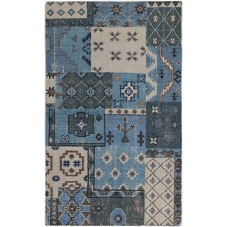 ECARPETGALLERY Hand-knotted Eternity Sky Blue Wool Rug - 4'11 x 8'0