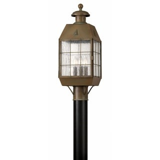 Link to Hinkley Nantucket 3-Light Outdoor Post Mount in Aged Brass Similar Items in Pier Mount Lights