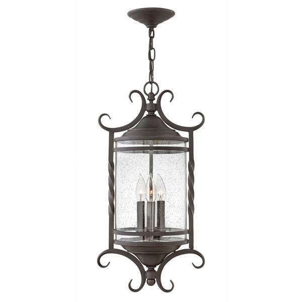 buy popular 3201b c6487 Hinkley Casa 3-Light Outdoor Pendant in Olde Black with Clear Seedy