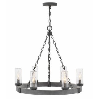 Hinkley Sawyer 6-Light Outdoor Chandelier in Aged Zinc