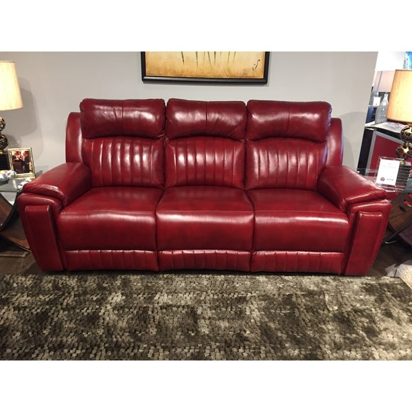 Southern Motion Silver Screen Red Leather Double Reclining Sofa With Hidden  Cupholders