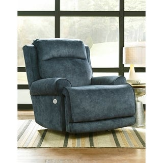 Southern Motion's Blue Cushioned High-power Rocker Recliner with Power Headrest