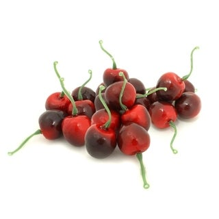 ALEKO Home Decoration Realistic Faux Fruits Package of 20 Black Cherry