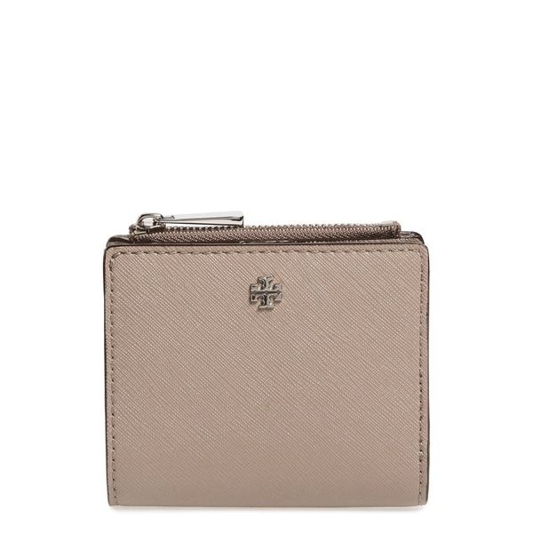 df9168edca6 Shop Tory Burch Robinson Mini French Grey Leather Wallet - Small ...