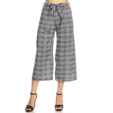 Women's Casual Capri Pants with Waist Tie