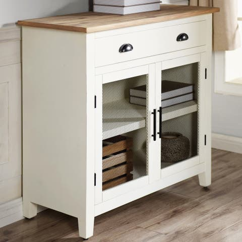 Quail Farm 2-Door White and Natural Shelf Cabinet