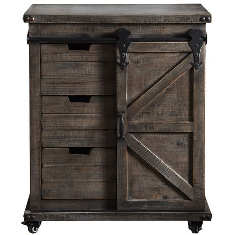 Presley Driftwood Grey 3-Drawer with Door Side Cabinet