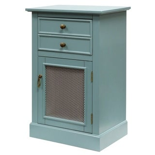2-Drawer Blue Single Mesh Door Wood Cabinet