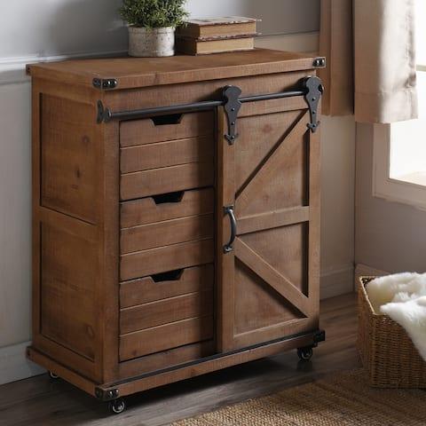 Presley Natural Brown 3-Drawer with Door Side Cabinet